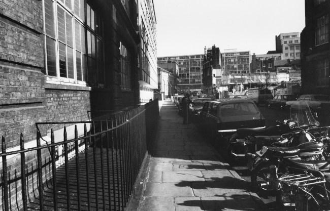 Stephen Street looking east towards Tottenham Court Road.