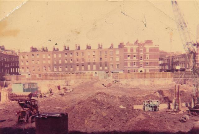 Demolition site before building of Holcroft Court.