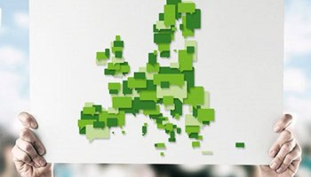 Green montage map of Europe.