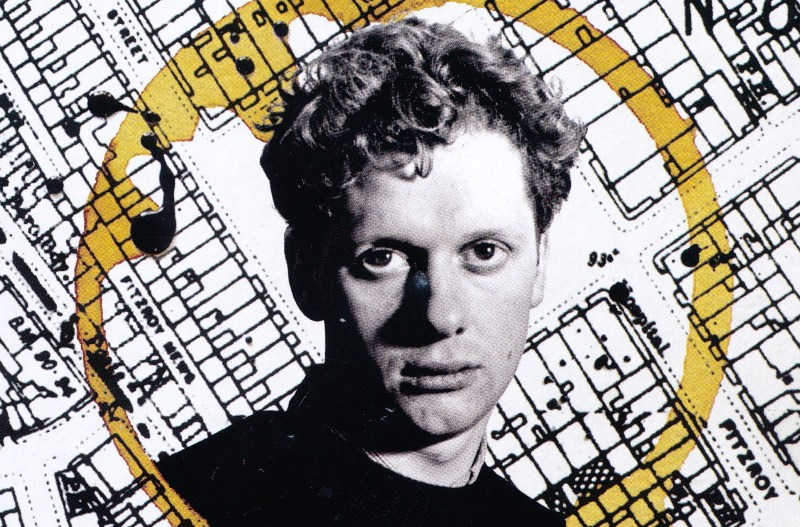 Photo of Dylan Thomas on cover of brochure.