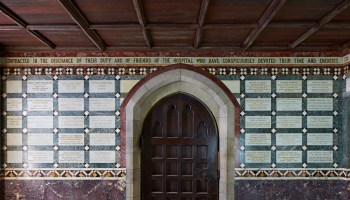 Memorial plaques on wall of Middlesex Hospital Chapel.