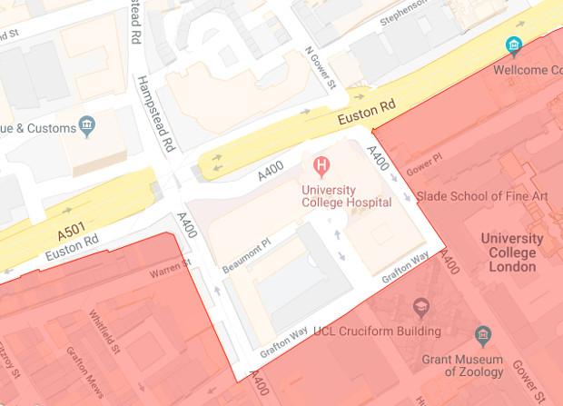Google Map showing Grafton Way.