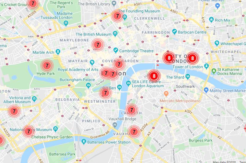Air pollution map.