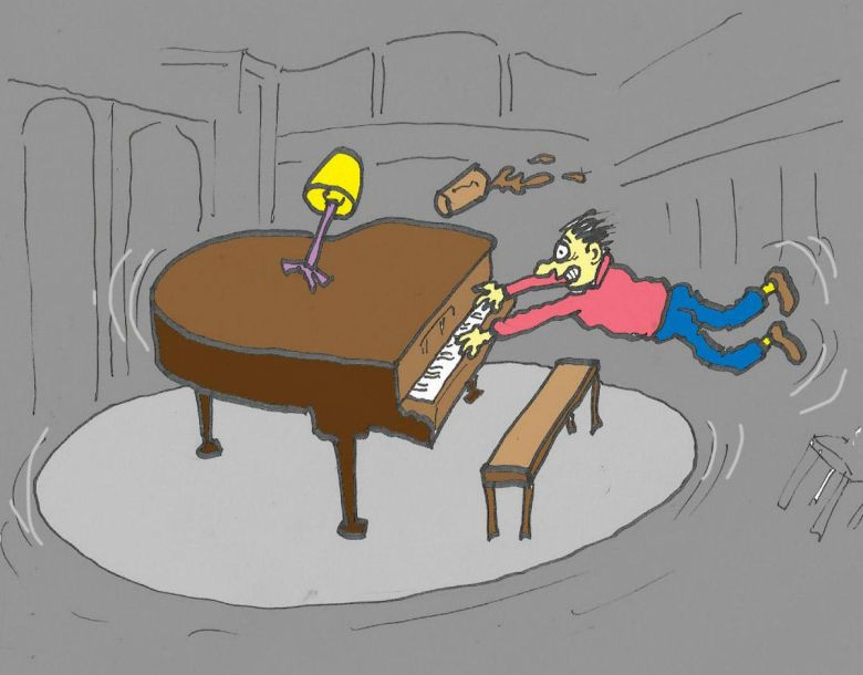 Cartoon shows piano player cllinging on to piano as it spins.