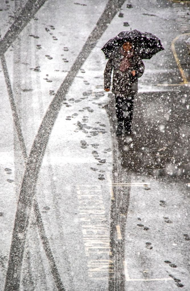 Someone walking along a street with an umbrella through snowfall.