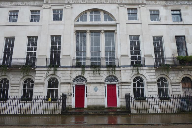 Front of Boston House on the south side of Fitzroy Square.
