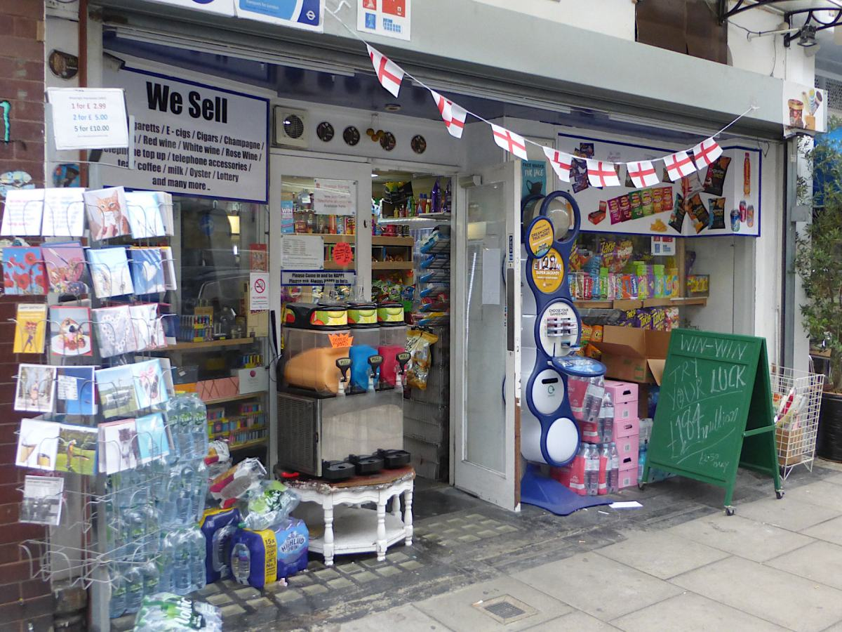 View of shop front from street.