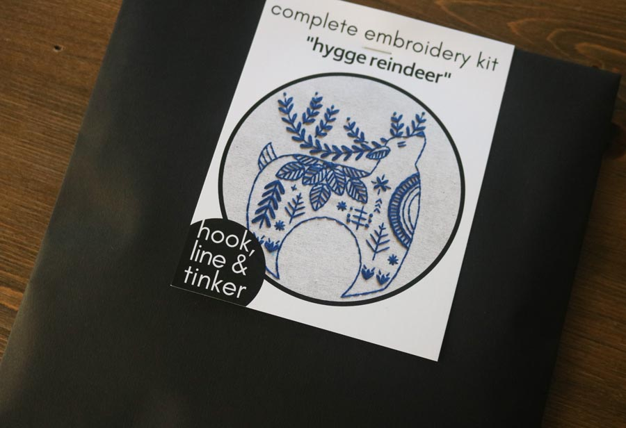 Hook, Line & Tinker Holiday Hygge Reindeer Complete Embroidery Kit