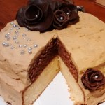 vanilla butter and chocolate layer cake with coffee icing