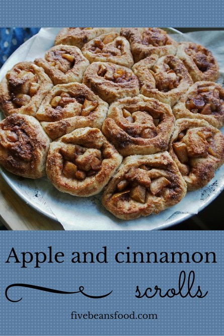Simple and tasty apple and cinnamon scrolls
