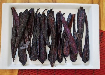 purple carrots roasted with sumac