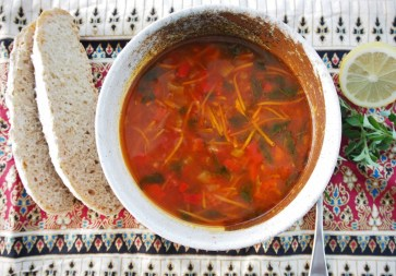 Vegetable soup made with home made stock