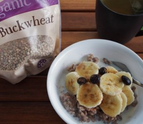 buckwheat with banana and blueberry