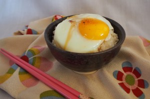 rice and egg for breakfast, a perfect, simple and tasty start to the day, with a little soy sauce and a sprinkle of 7 spice