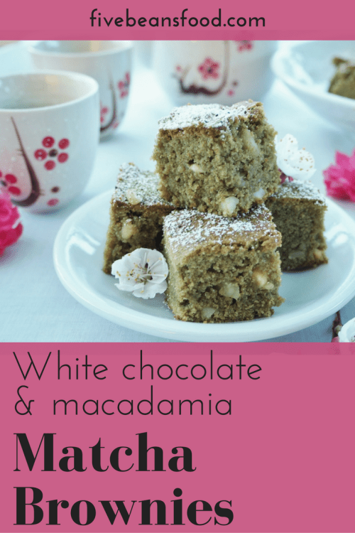 A special treat thats a little different, matcha green tea brownies with white chocolate and macadamia nuts
