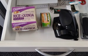 Keep some packets of healthy food in your desk drawer for work lunch