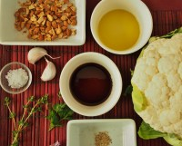 ingredients for pomegranate molasses roasted cauliflower