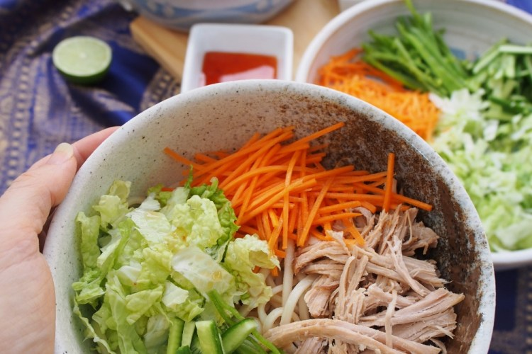 Simple Vietnamese style pork and noodle bowls
