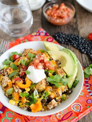 quinoa chicken burrito bowls with leftover chicken
