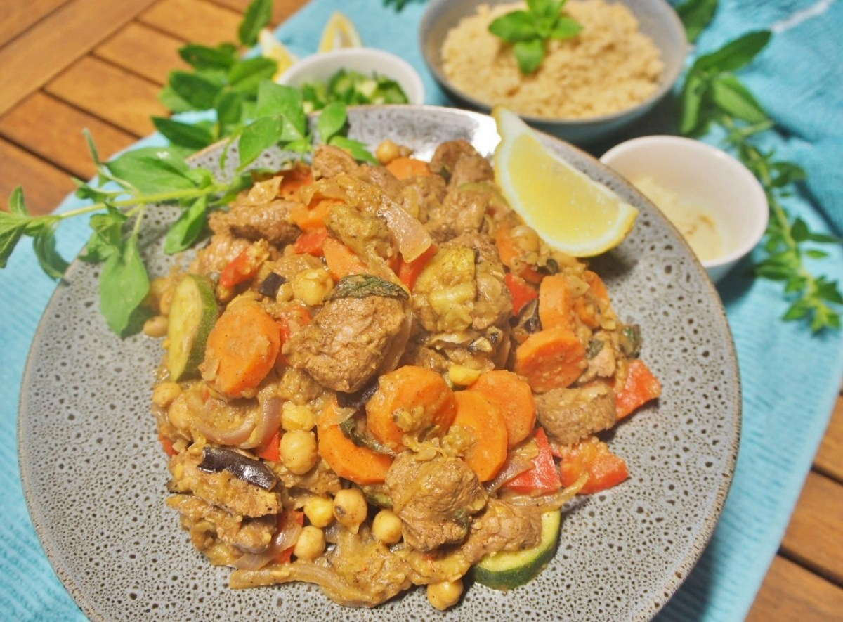 Simple lamb and vegetable dinner, Moroccan style