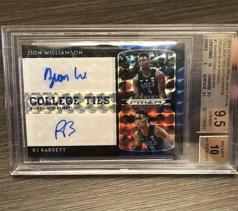 Zion Williamson and RJ Barrett dual autograph card