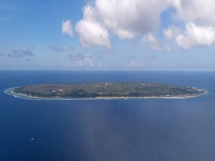 View of Nauru from the plane. / The Republic of Nauru is 21-square-kilometres in size, with a population of around 13,000.