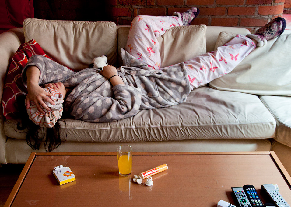 pass your driving test - woman hungover on sofa