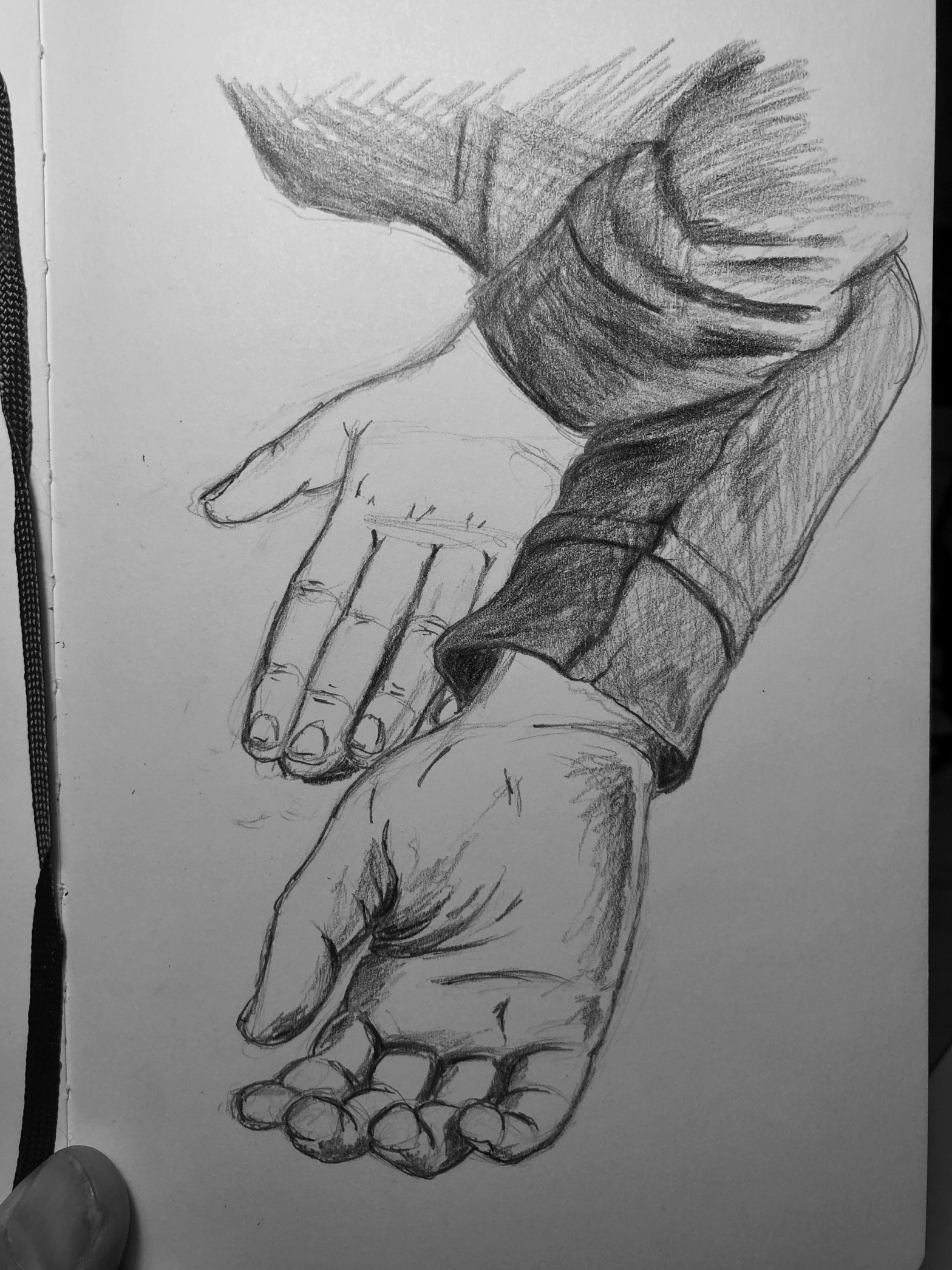 Sketch of two hands, one lying face up and the other face down.