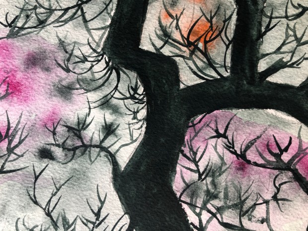 Close up of tree watercolor painting