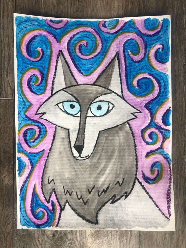 Painting of Robyn as a wolf from the movie Wolfwalkers.