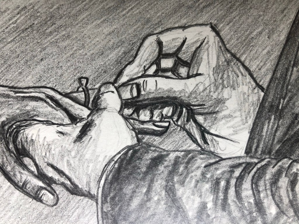 Close-up of drawing of hand putting ring on finger of another.