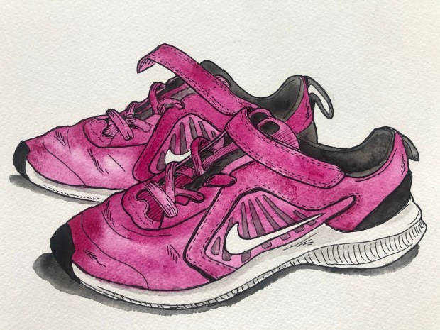 Watercolor illustration of kids Nike shoes.