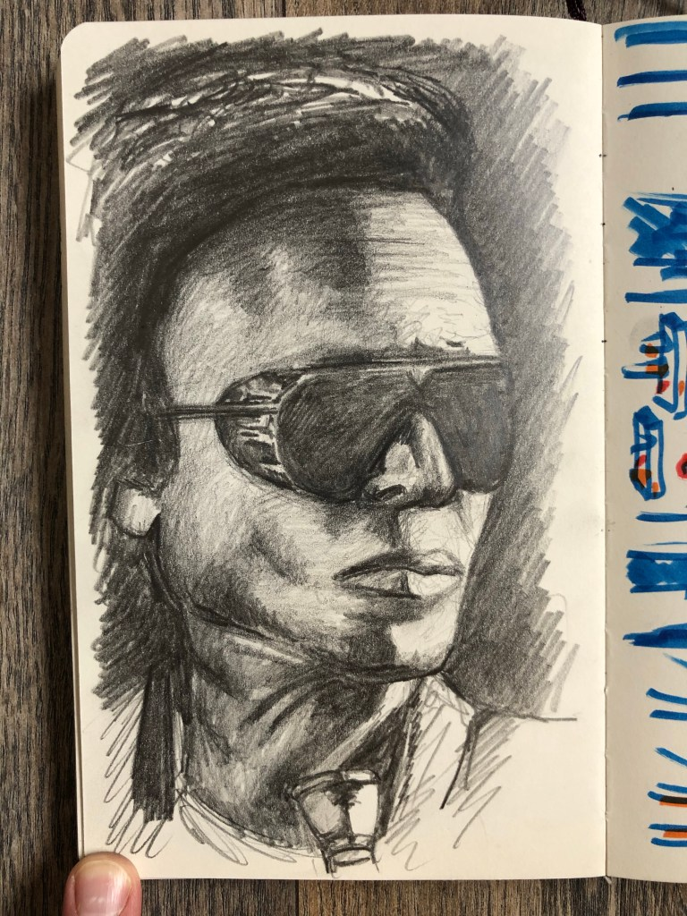 Pencil sketch of Miles Davis from Live at Vienne.