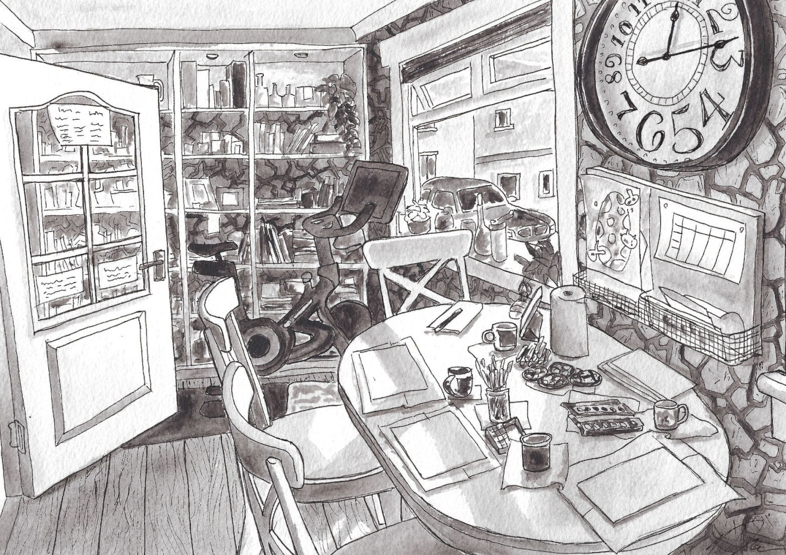 Illustration of dining room with cluttered table and bookshelves.