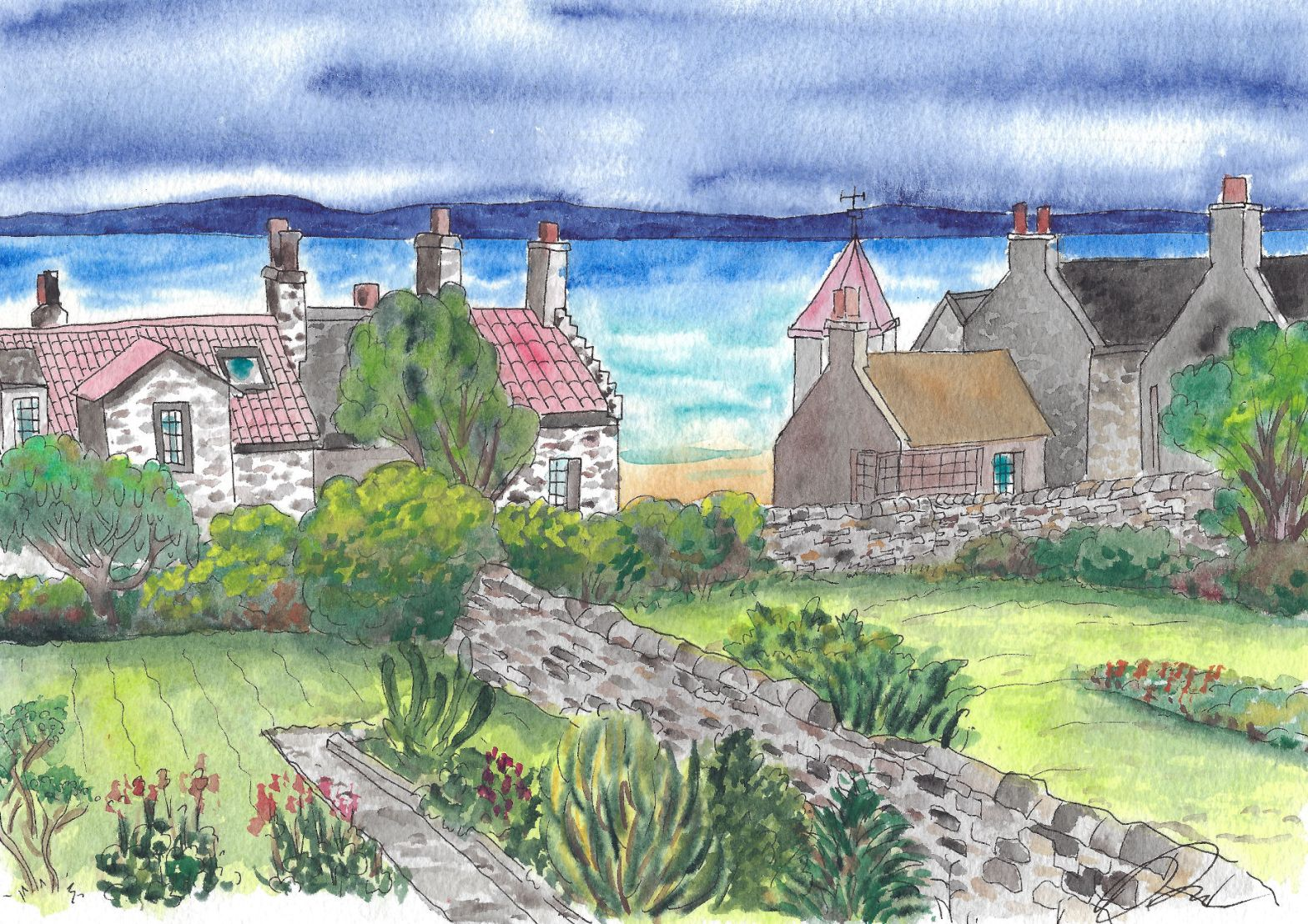 Watercolor of Elie village in Scotland with water in the background.