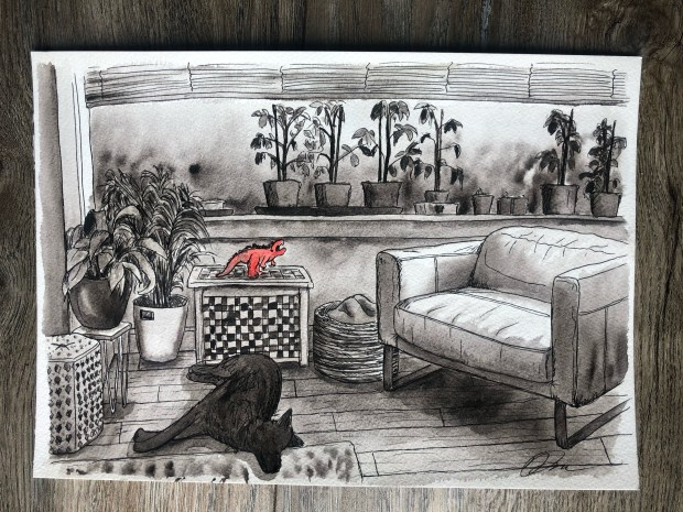Watercolor illustration of living room with tomato plants and dog lying on the floor.