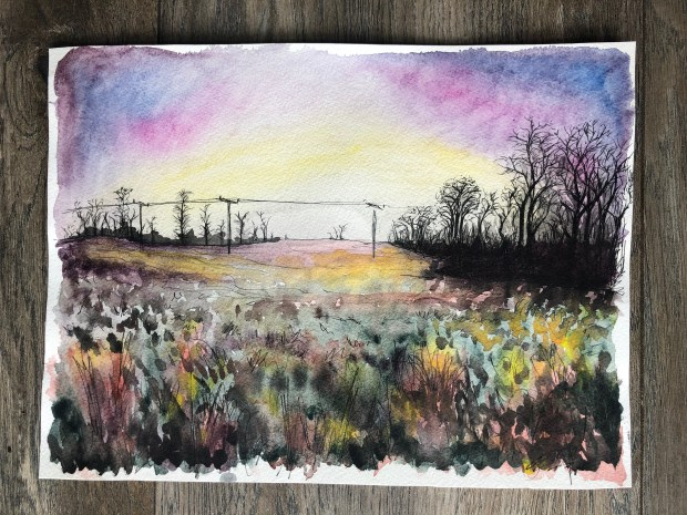 Watercolor painting of a field in Scotland.