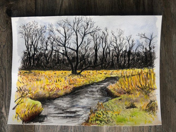 Watercolor painting of a yellow field and stream against a grey background.