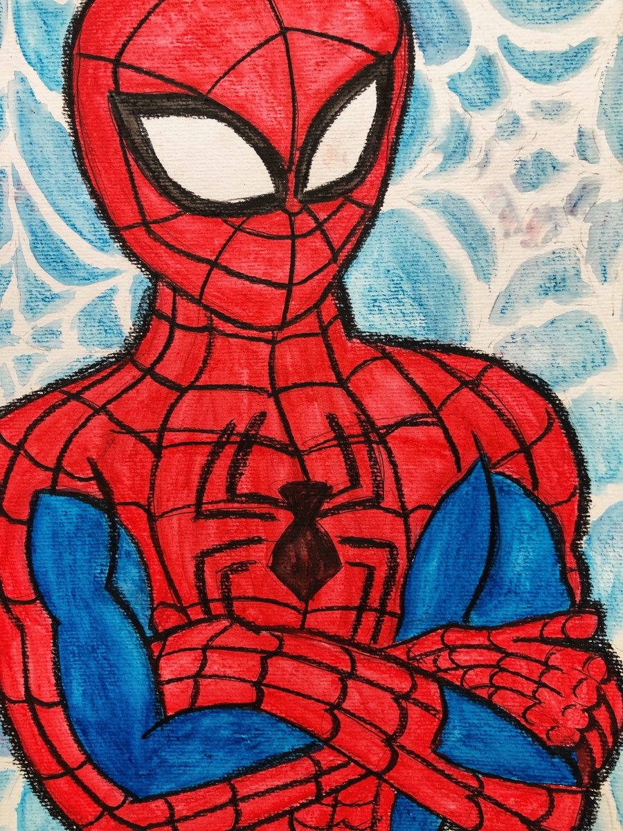 Portrait of Spiderman with arms crossed.