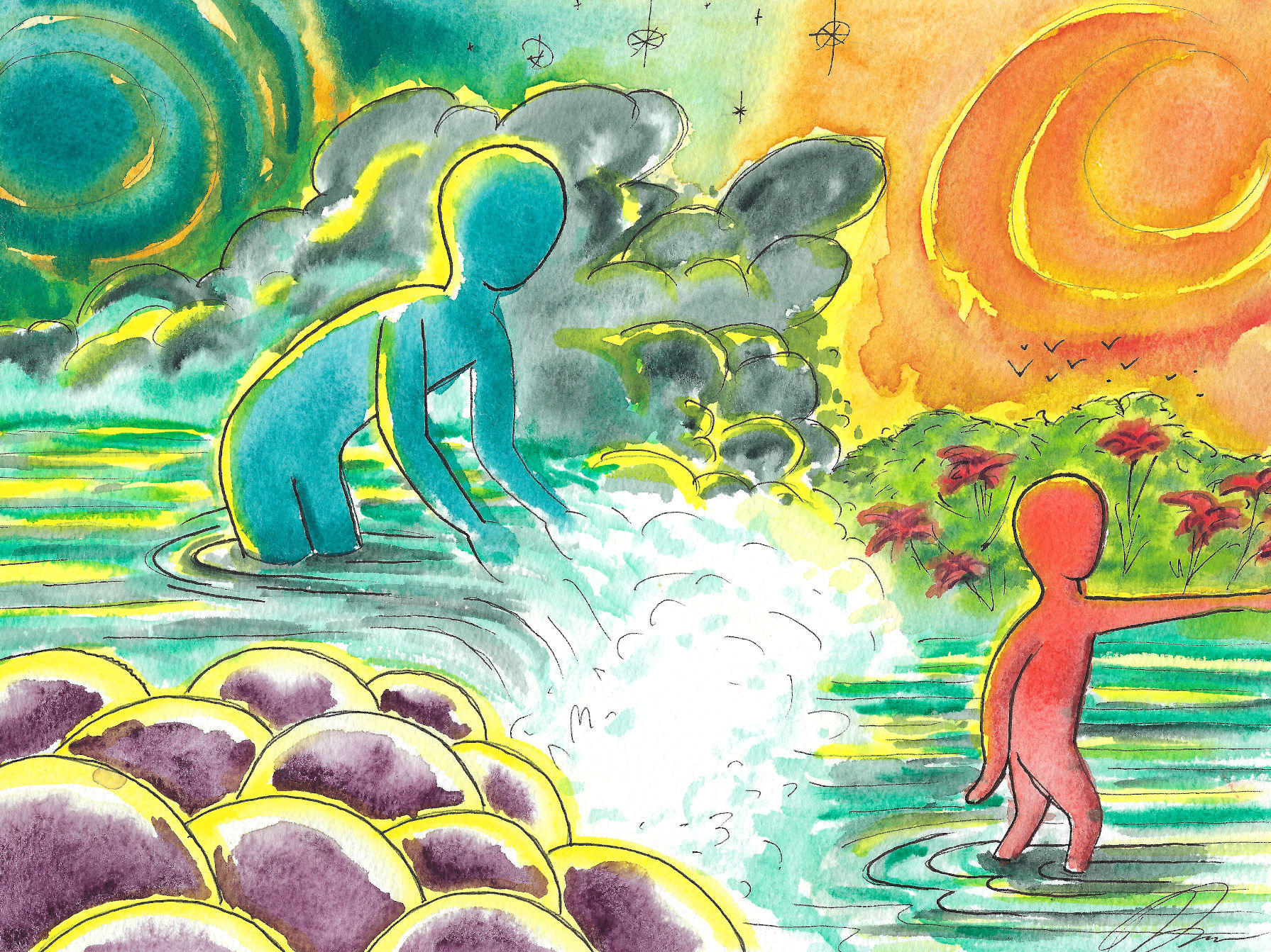 Abstract watercolor painting of adult and child figures in a stream.