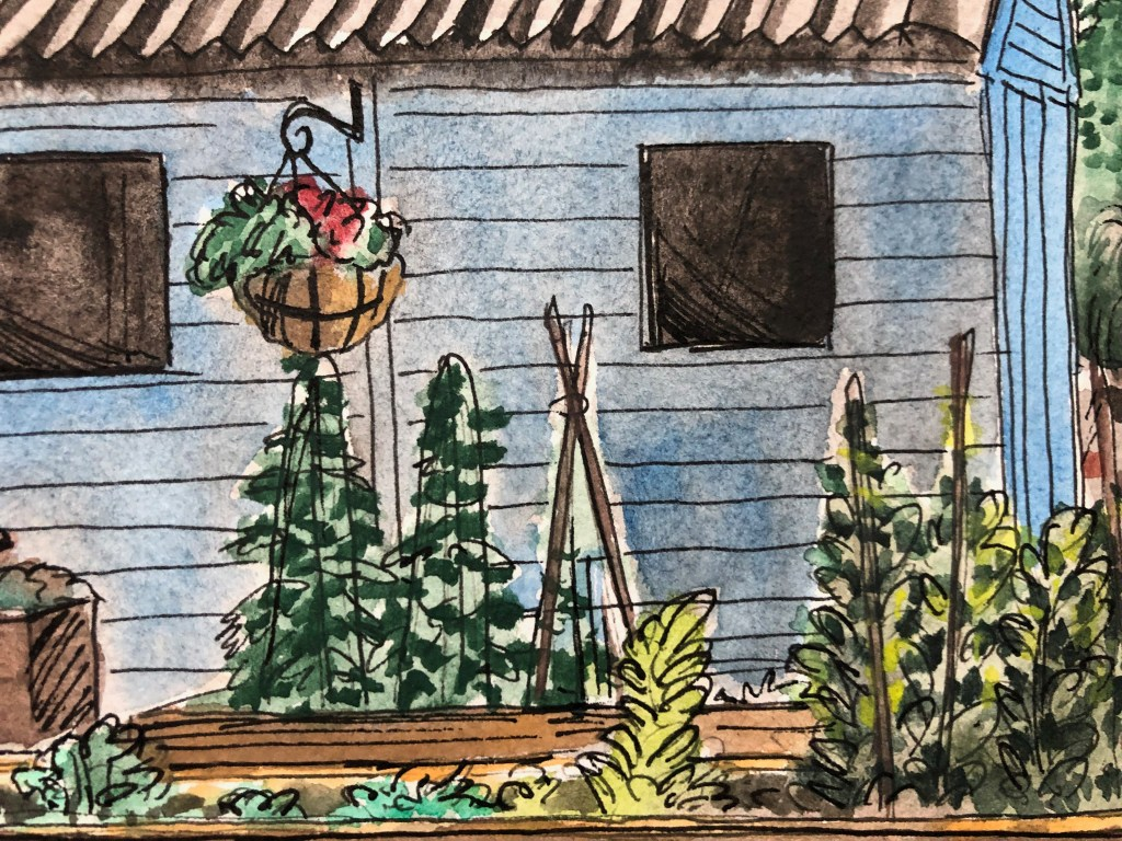 Close-up of painting of garden shed and plants surrounding the shed..