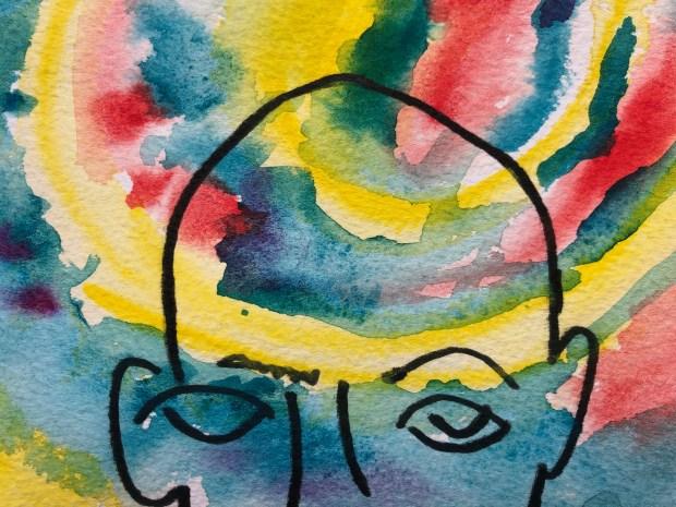 Close up of watercolor painting and contour line portrait.