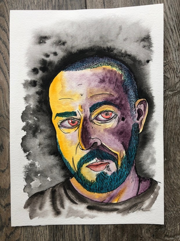 Watercolor self portrait in purple and yellow.