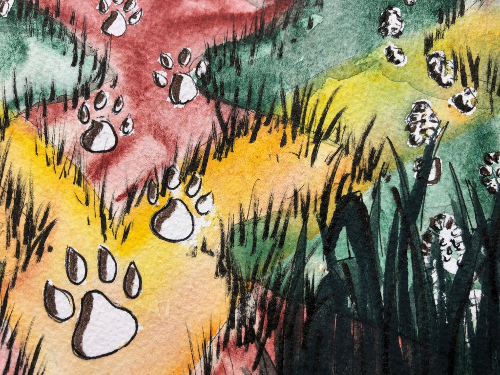 Close up of watercolor painting of a lion silhouette and tracks on the ground.