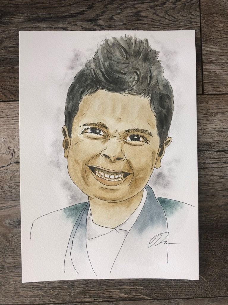 Watercolor portrait of Sam.
