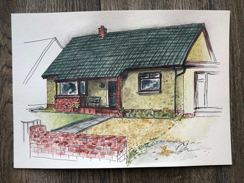 Watercolor painting of house.