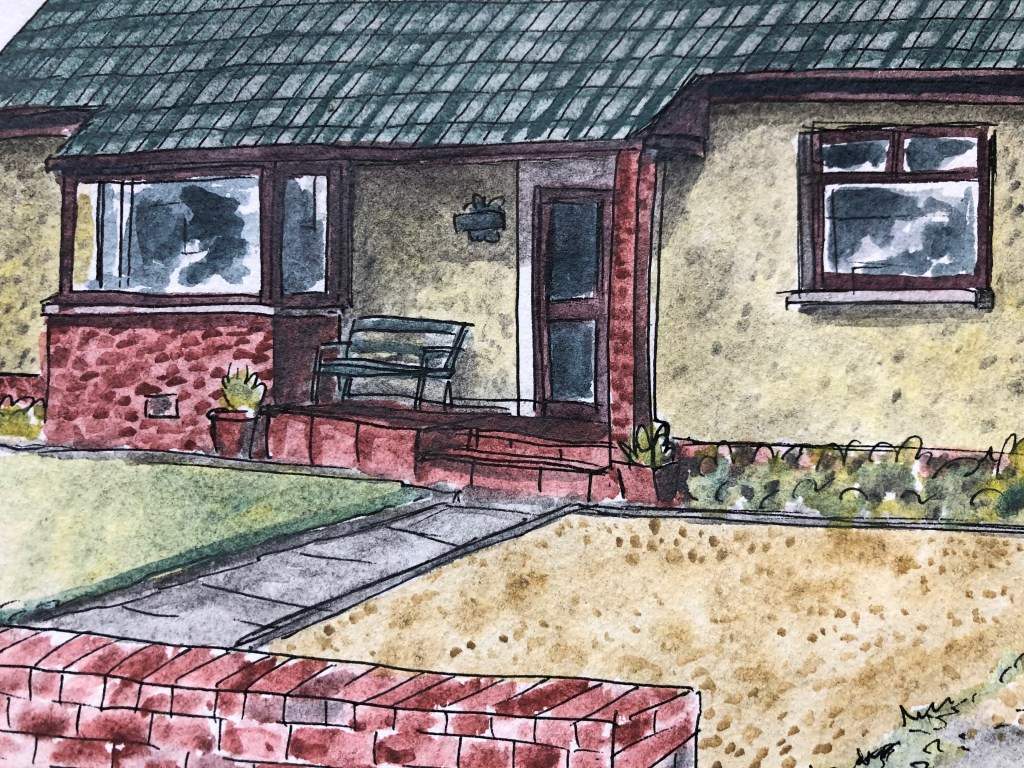 Close up of watercolor painting of house.