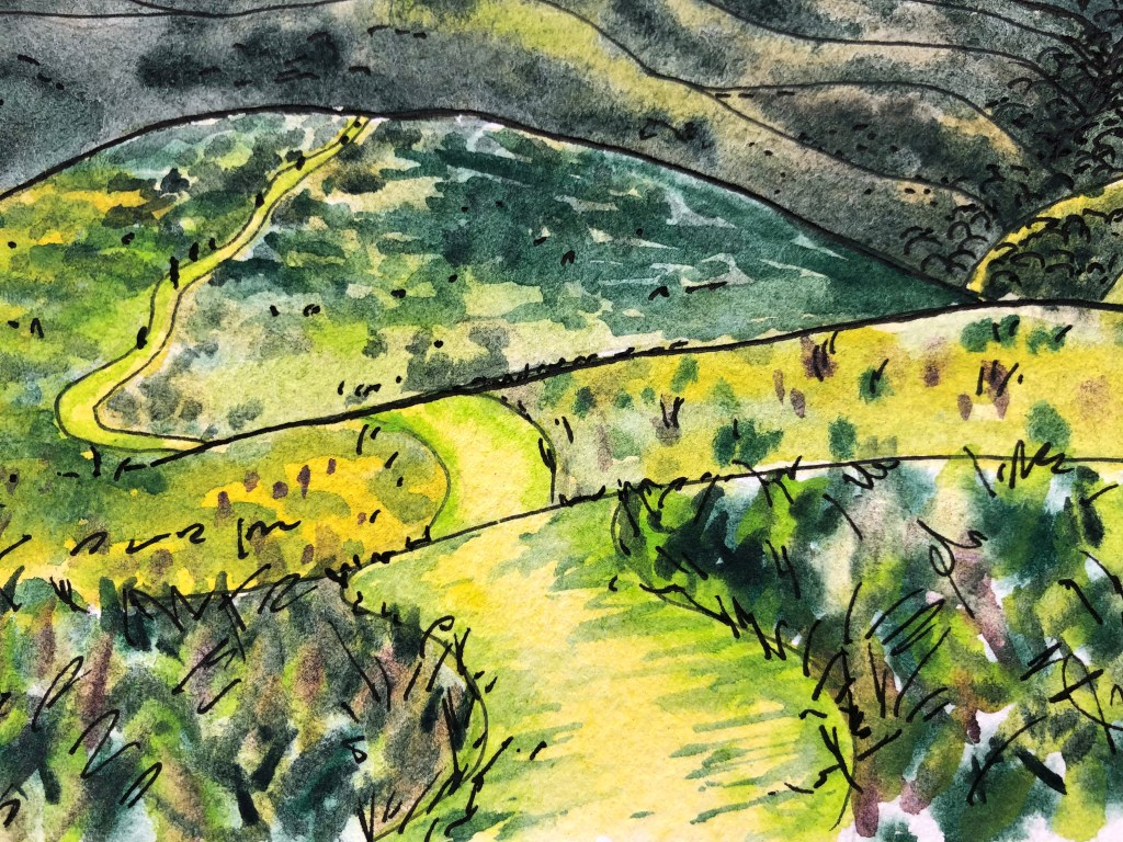 Close-up of watercolor painting showing a path down the hill.