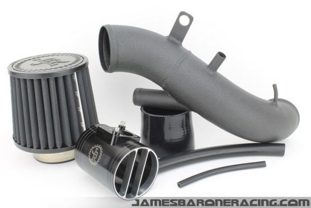 "JBR 3.5"" Full Path Aluminum Intake, $295.00. Notice how the coupler necks down from 3.5"" to 2.0"" to fit the stock k04 turbo inlet. Image courtesy of jamesbaroneracing.com"