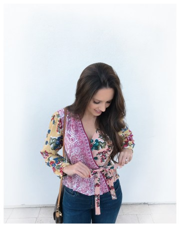Anthropologie Floral Patch Work Blouse